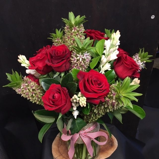 Modern Red Rose Vase Arrangement